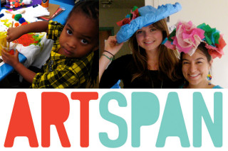 Photo of child, photo of women wearing hand-made hats, ArtSpan logo.