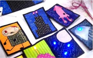 Photo of quilt squares with LED lights