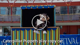 Caterpillar Puppets play copy cat. Click for video.
