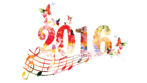 2016, music notes, and butterflies