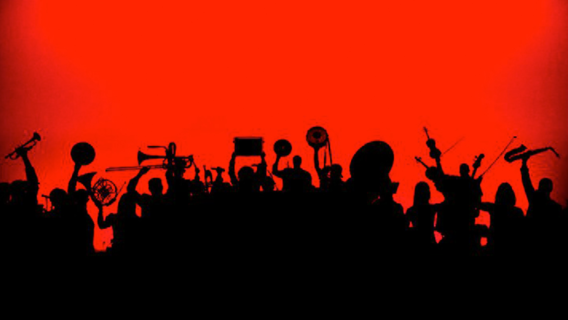 Silhouette of people holding brass instruments and drums, Brass Convergence