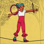 Illustration of child with hoops walking on a line