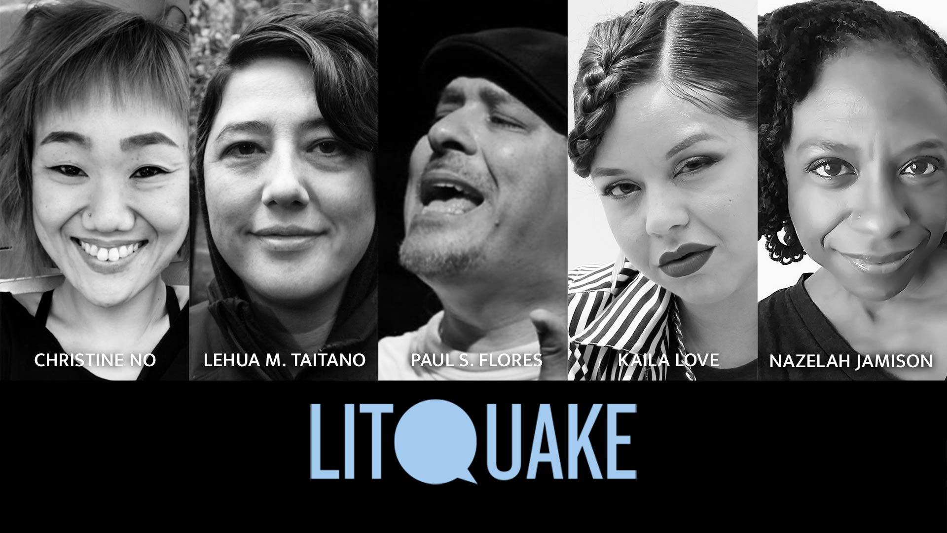 Photos of Litquake poets Christine No, Lehua M. Taitano, Paul S. Flores, Kaila Love, and Nazelah Jamison.