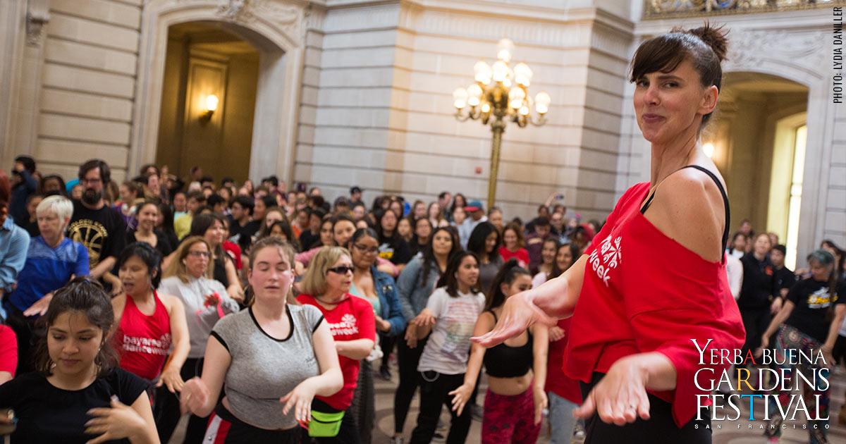 Bay Area Dance Week dancers at San Francisco City Hall, photo by Lydia Daniller