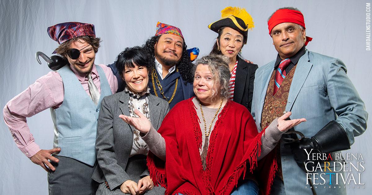 Photo of the cast of SF Mime Troupe's musical Treasure Island, by DavidAllenStudios.com