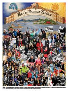 Indigenous Peoples' Day 2019 commemorative poster by L. Frank Manriquez and Emmanuel Montoya.