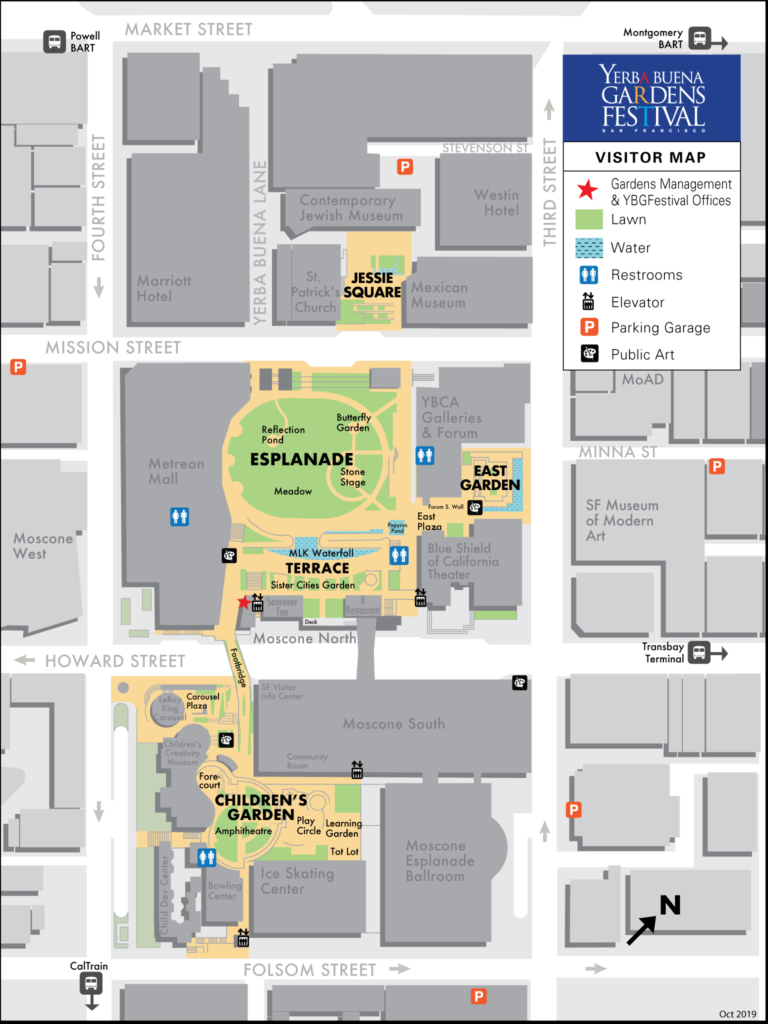 Visitor map of areas within and surrounding Yerba Buena Gardens, San Francisco, California