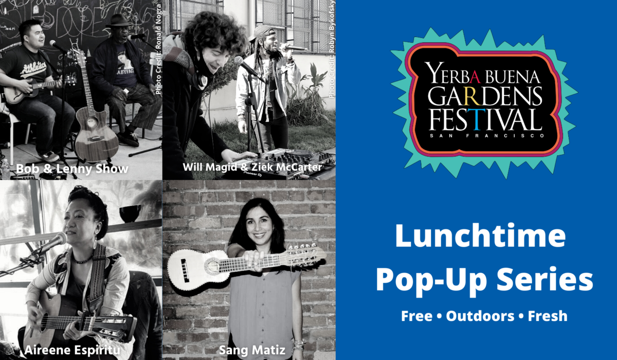 A black and white square collage of the April-May 2021 Lunchtime Pop-Up artists. Top Row, Left to Right: Bob & Lenny sitting and singing into microphones. Will Magid on DJ turntables and Ziek McCarter on the microphone. Bottom row, left to right: Aireene Espiritu sitting, playing guitar and singing into microphone. Yuriza Jared of Sang Matiz holding a charango up with one hand, strings out.
